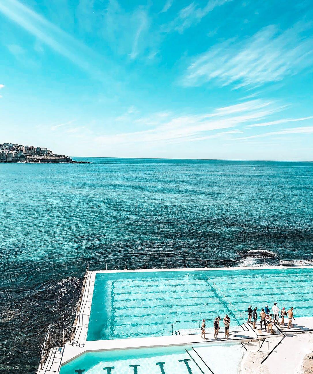 people standing beside swimming pool